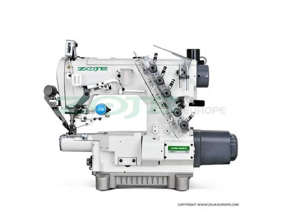 Masina de cusut Zoje industriala, interlock cu brat cilindric ingust, cusatura tip acoperire, 3 ace si 5 ate, distanta dintre ace de 5,6 mm